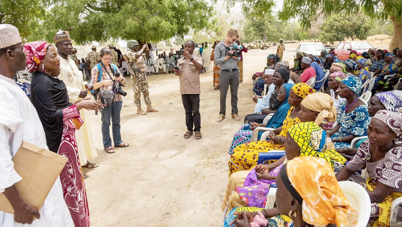 Chief Executive Officer of the Murtala Muhammed Foundation (MMF), Mrs. Aisha Muhammed-Oyebode (second left), addressing some of the parents of the abducted Chibok girls at a meeting in Chibok, Borno State …yesterday. PHOTO: NAN