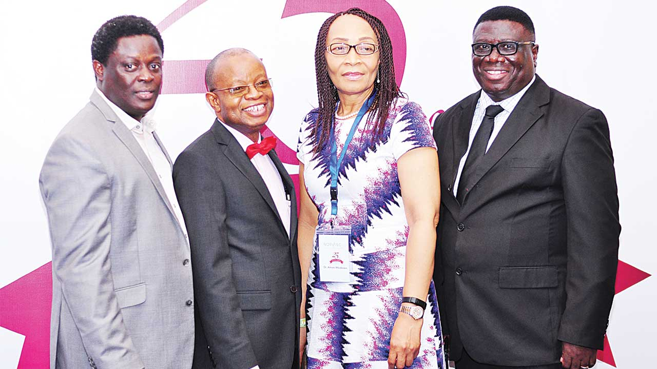 Marketing Director, Pfizer Nigeria & East Africa Region, Winston Ailemoh (left); Chairman of the occasion, Lere Baale; President, Nigerian Cardiac Society, Associate Professor of Medicine & Consultant Cardiologist, Dr. Amam Mbakwem; Medical Director of Pfizer Nigeria & East Africa Region, Dr. Kodjo Soroh during the 25 years of consistent commitment to Cardiovascular Health in Nigeria held in Lagos