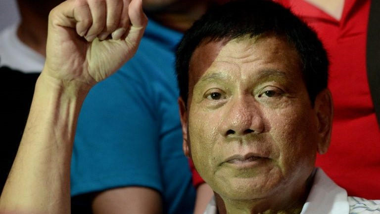 Philippine presidential front-runner candidate Rodrigo Duterte, seen during a campaign rally in Manila, on April 23, 2016. PHOTO: AFP