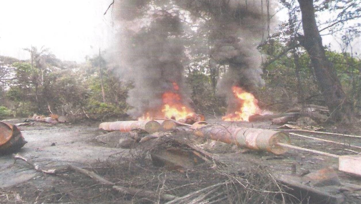 One of the refineries destroyed by the Nigerian Navy