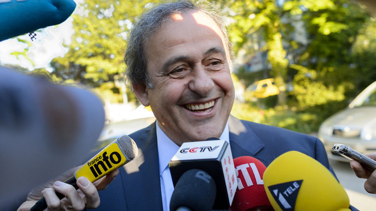 Michel Platini arrives to appear before the Court of Arbitration for Sport to appeal his six-year FIFA ban for ethics violations on April 29, 2016 in Lausanne. The Frenchman has been sanctioned over an infamous two million Swiss franc ($2 million, 1.8 million euro) payment he received in 2011 from then-FIFA president Sepp Blatter.  / AFP PHOTO / FABRICE COFFRINI