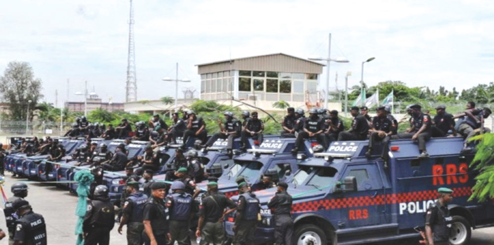 Members of Lagos State Rapid Response Squad 2015, as the state government donated close to N4.8 billion in vehicles and equipment to the state's police command.