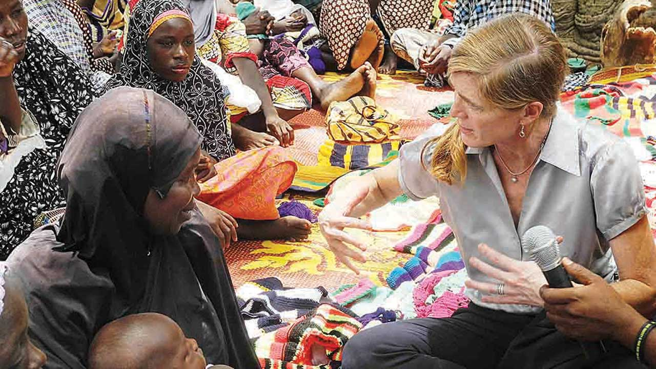 United States (US) Permanent Representative to the United Nations (UN), Ambassador Samantha Power (right) interacting with victims of Boko Haram insurgency during her visit to Malkohi IDPs Camp in Yola, Adamawa State…yesterday. PHOTO: NAN