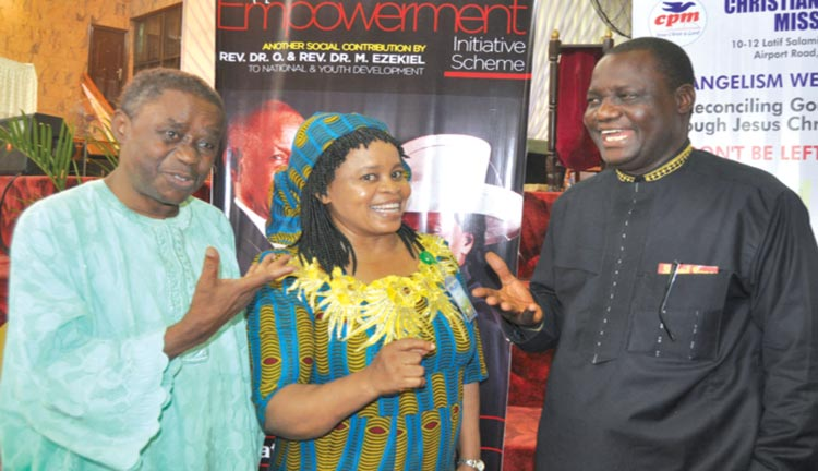 CPM Lagos State Coordinator, Rev. Albert Oyekunbi (left); wife of the Imo State Coordinator, Rev. Vero John Eze and Northern State Coordinator, Rev. Tony Akwashiki at the Back-to- Bible Conference held at CPM headquarters, Lagos.