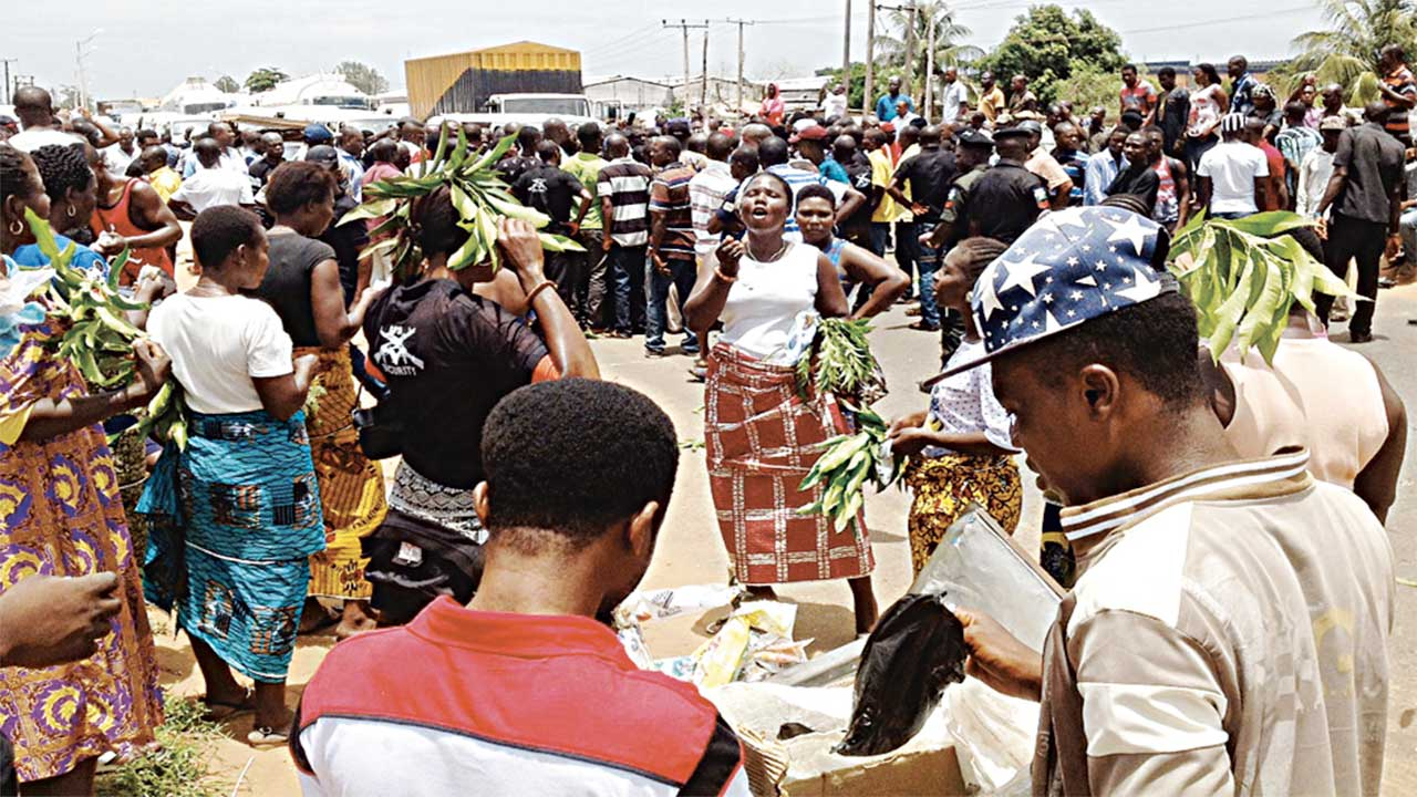 A cross section of members of the Delta Security Network during a protest over security problems in Asaba… yesterday. PHOTO: NAN
