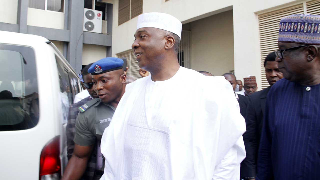 Senate President, Bukola Saraki arrived the Code of Conduct Tribunal on April 20, 2016. The Trial continues today.