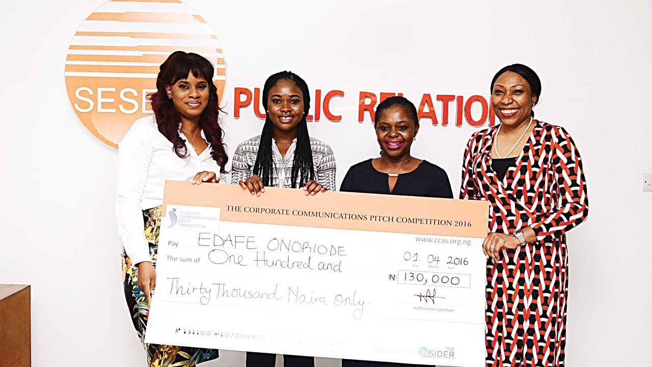 Winner of Corporate communications pitch competition (CCPC), Edafe Onoriode (left); Managing Director (MD), Sesema Public Relation (PR), Mrs. Tampiri Irimagha Akemu; and First Runner up, CCPC, Ibukun Oyegbesan during the grand finale and presentation ceremony of the CCPC in Lagos recently.