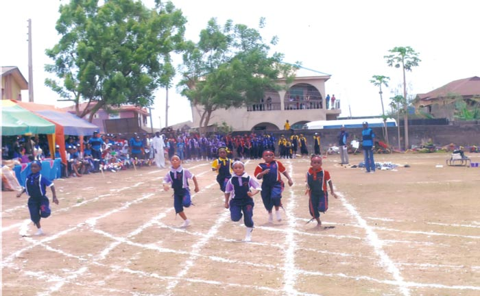 Pupils of Newlife Schools taking part in 100 meters during the fourth biennial inter-school sports held at the CAC Camp ground, Aboki Avenue in Abaranje, Lagos, recently.