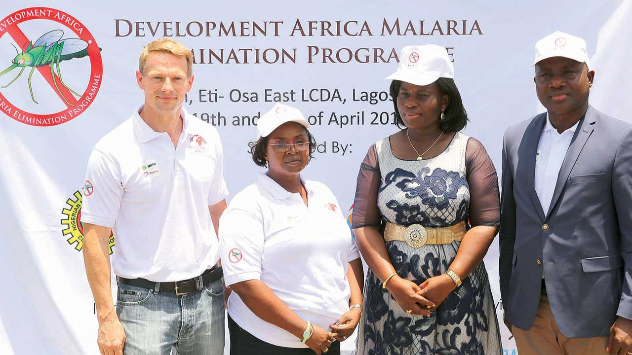 Country Director, Development Africa, Joshua Kempeneer (left); Apex Chief Nursing Officer, Eti-Osa East Local Council Development Area (LCDA), Mrs. Yussuff Olubunmi; Public Affairs Director, National Petroleum Investment Management Services (NAPIMS), Mrs. Helen Nkwo; and General Manager, Corporate Social Responsibility (CSR) Total Exploration and Production company, Dr. Charles Ngiribara, during the Rollback Malaria Outreach Programme to mark 2016 edition of World Malaria Day.
