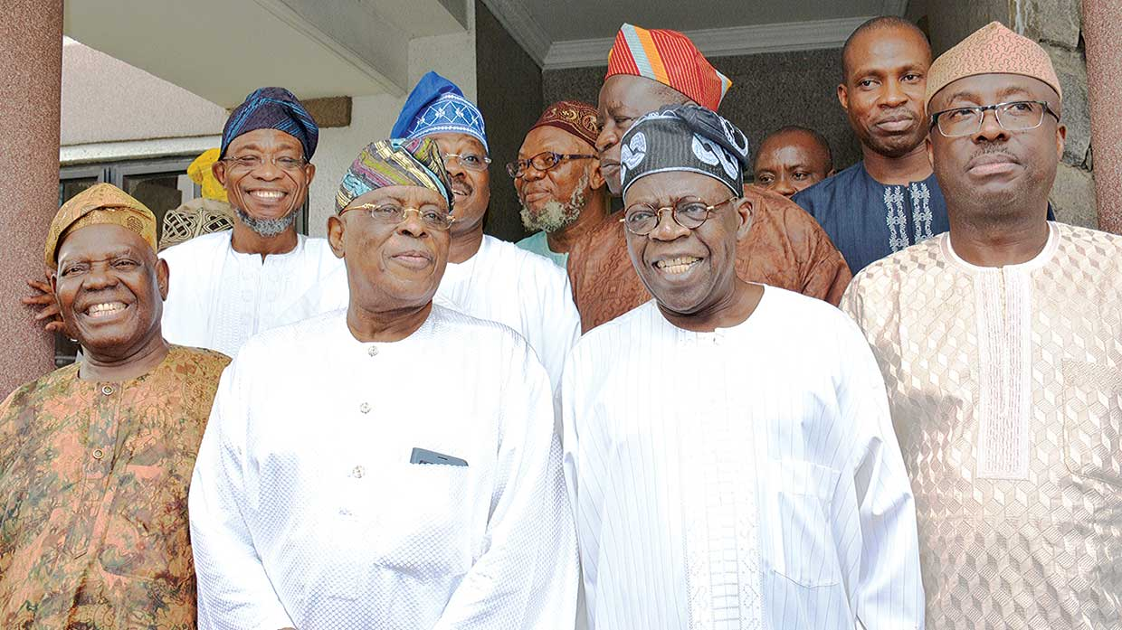 Chief Bisi Akande (left),Osun State Governor Rauf Aregbesola, Chief Olusegun Osoba, Oyo State Governor, Senator Abiola Ajumobi, National Leader of APC, Asiwaju Bola Ahmed Tinubu and Otunba Niyi Adebayo at the reception for Osoba
