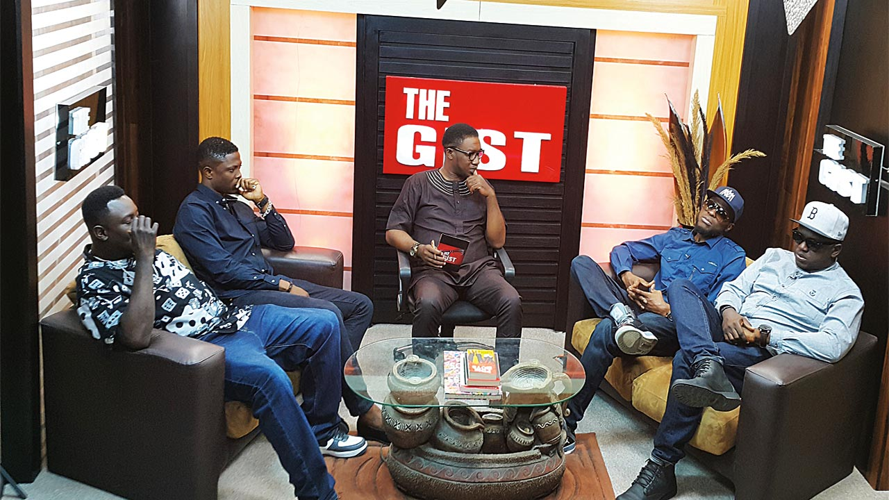 Illbliss (left) late Nomoreloss, show anchor Emma, Vector and Mode 9 on set of The Gist.