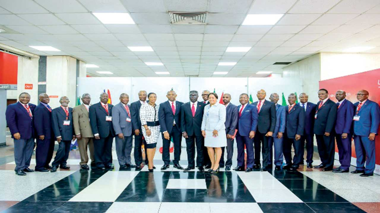 Group Chairman, United Bank for Africa, Plc (UBA),Tony O. Elumelu (9th from left); GMD, Phillips Oduoza  (10th from left); Group Managing Director Designate (15th from left) and board chairmen from the 18 subsidiaries in Africa and some members of Executive Management of the Group after its inauguration in Lagos.