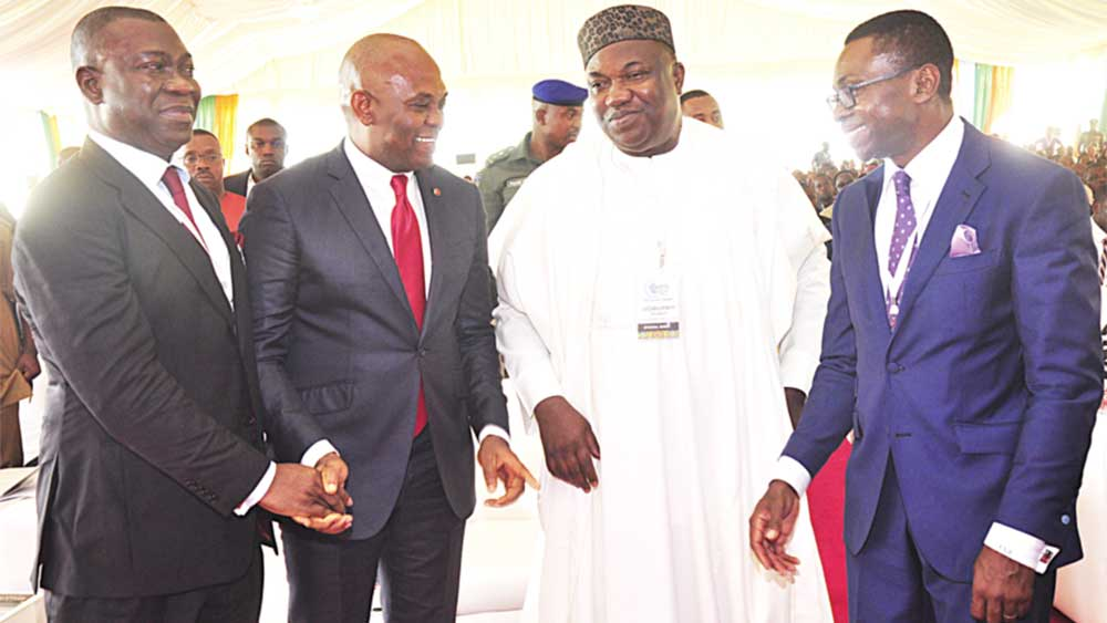 Deputy Senate President Ike Ekweremadu (left); Chairman, Heirs Holding, Tony Elumelu; Enugu State Governor Ifeanyi Ugwuanyi and Director-General of Oganiru, Ike Chioke,  during the opening ceremony of the Oganiru Enugu State Investment Summit at the Michael Okpara Square, Enugu …yesterday