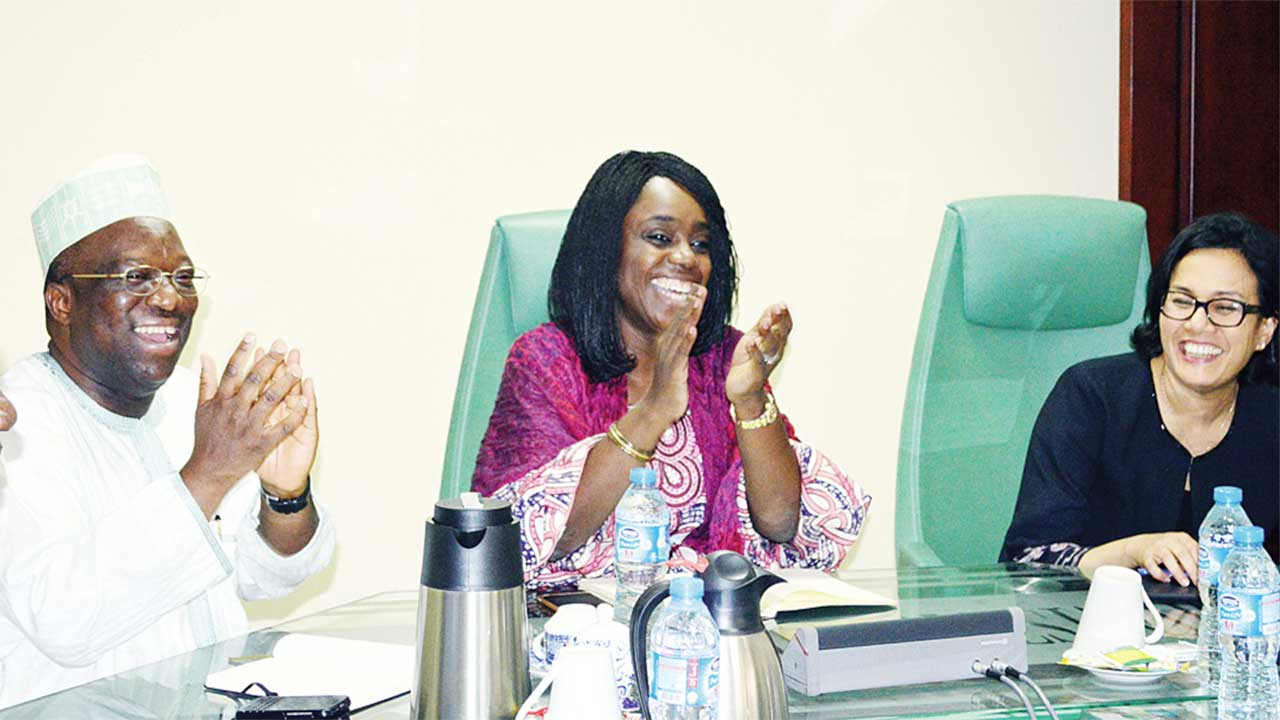 Permanent Secretary, Federal Ministry of Finance, Dr. Mamoud Isa-Dutse (left); Minister of Finance, Kemi Adeosun and Managing Director of the World Bank, Sri-Mulyani Indrawati, during the visit of the bank's boss to the ministry in Abuja …yesterday PHOTO: NAN
