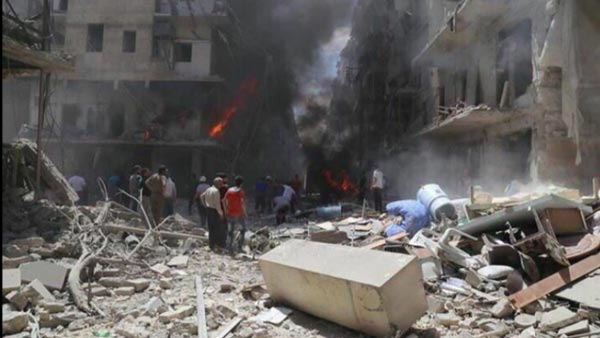 Airstrikes destroyed a well-known field hospital in Aleppo, killing at least 27 people, April 28, 2016. PHOTO: SYRIA CIVIL DEFENSE