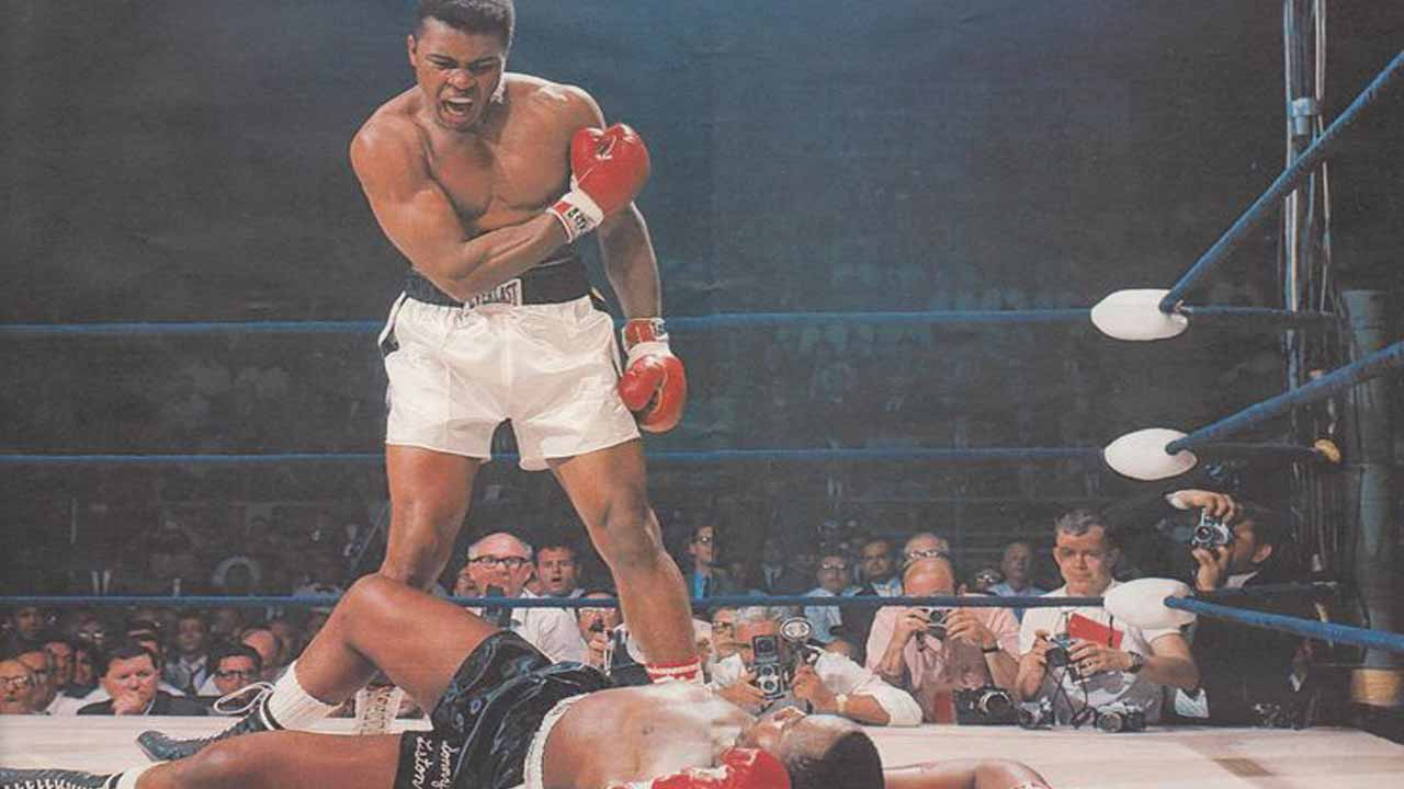 Ali taunts Sonny Liston after knocking out the former undisputed world heavyweight champion.
