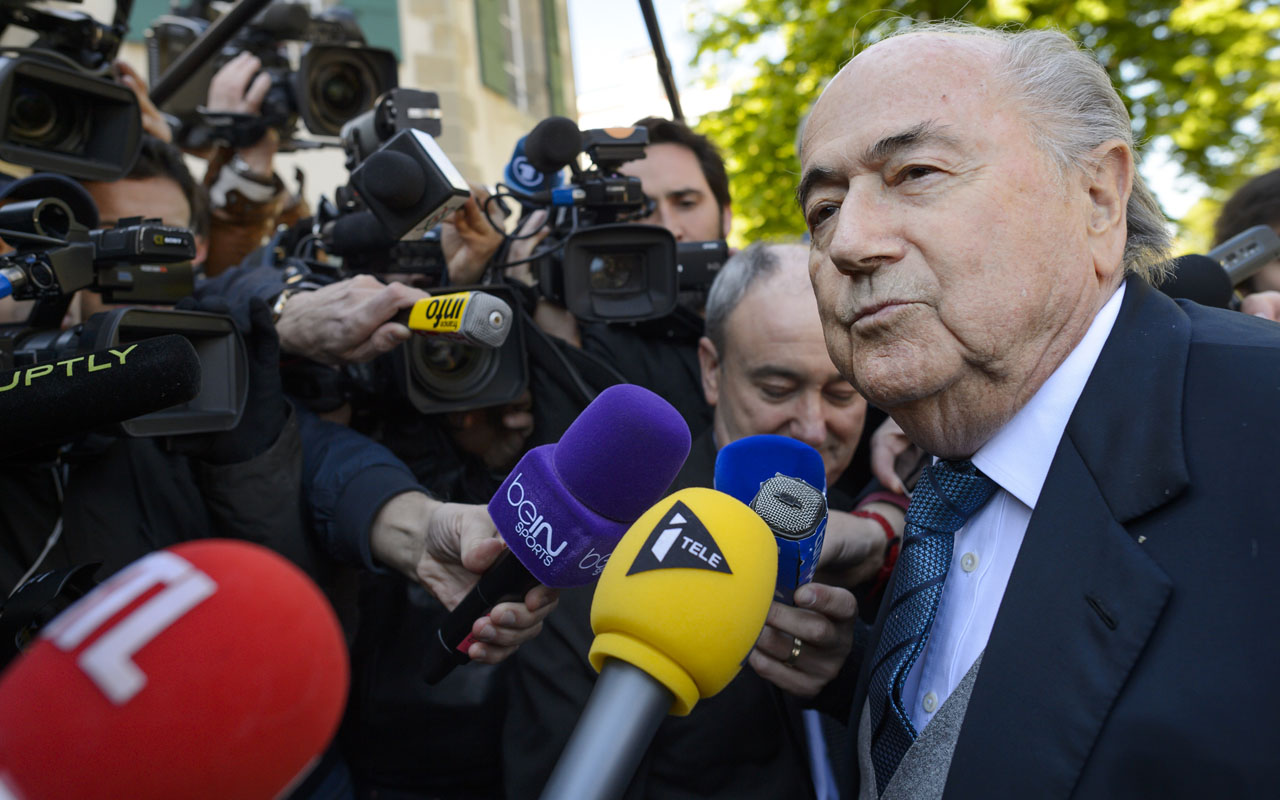 Former FIFA president Sepp Blatter arrives to the Court of Arbitration for Sport for the appleal of Michel Platini's against his six-year FIFA ban for ethics violations on April 29, 2016 in Lausanne. Platini has been sanctioned over an infamous two million Swiss franc ($2 million, 1.8 million euro) payment he received in 2011 from then-FIFA president Sepp Blatter. / AFP PHOTO / FABRICE COFFRINI