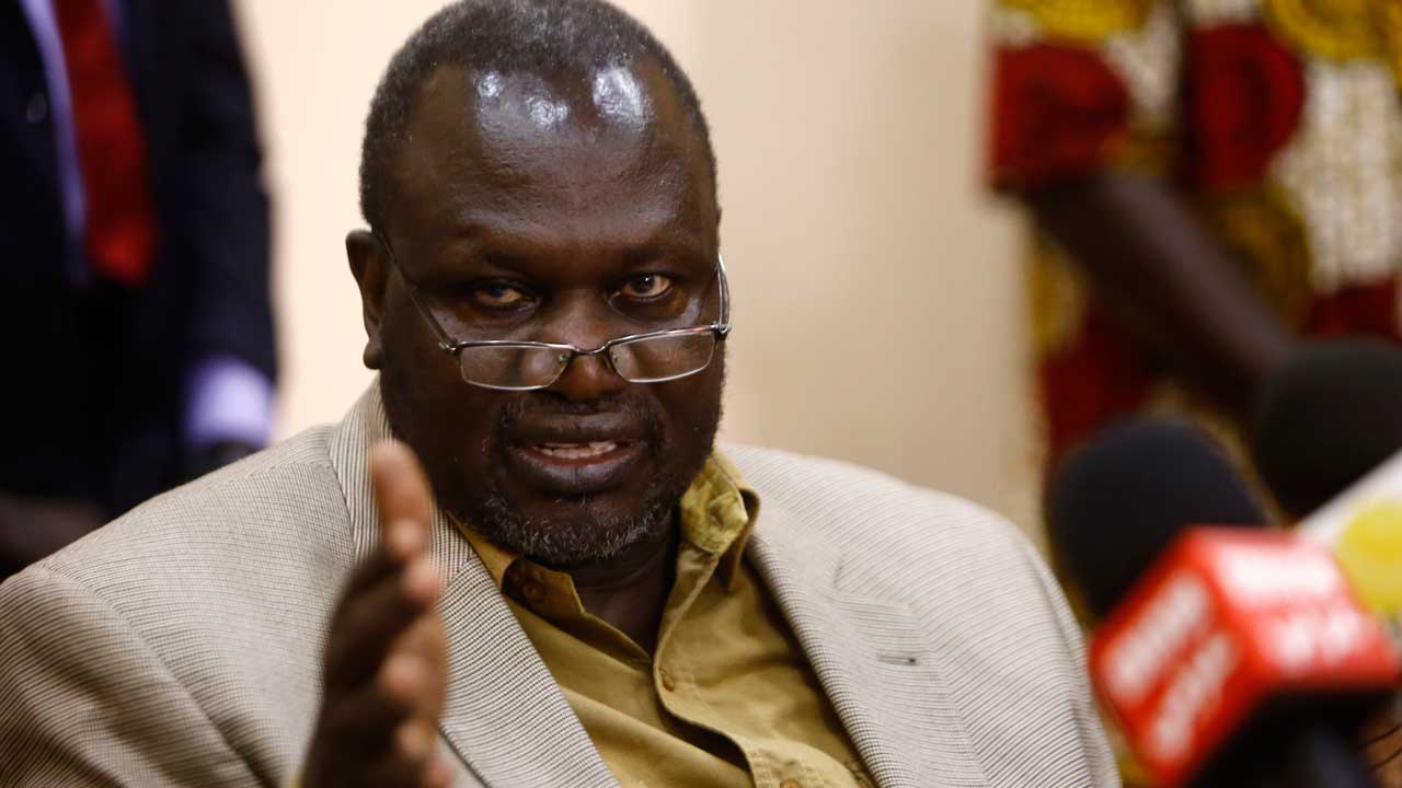 South Sudan's former Vice President and South Sudanese rebel leader Riek Machar talking during a press conference in Khartoum.