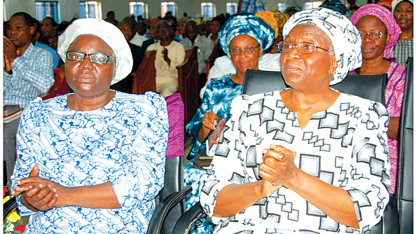 Pastor Kumuyi's wife, Esther ( left) and other women leaders, during the Monday Bible Study.