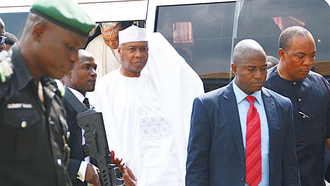 Senate President Bukola Saraki arriving at the Code of Conduct Tribunal in Abuja …yesterday. PHOTO: LADIDI LUCY ELUKPO