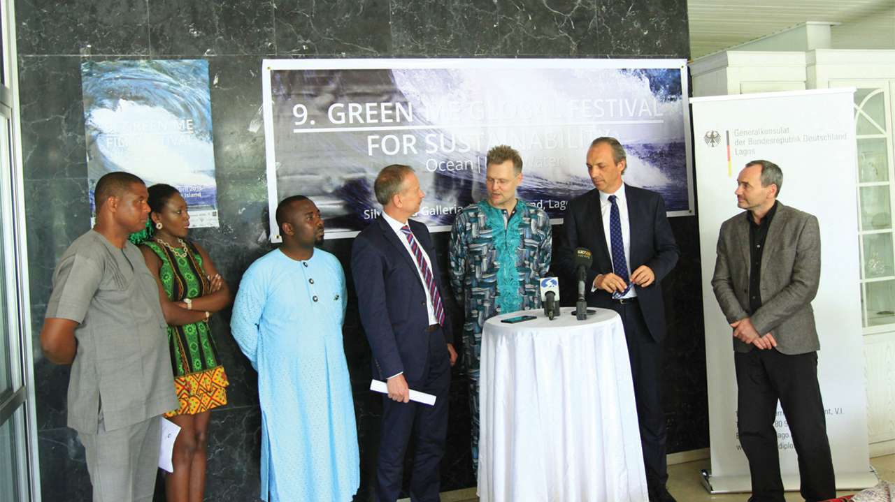 Film marketer and distributor, Ikenna Kizito Lyida (left); Green Me Festival Producer and Director of Foreign and International Affairs, Nkiru Niemann; filmmaker, Emmanuel Piegbe; German Consul-General in Lagos, Ingo Herbert; Founder and Festival President, Green Me Global Festival for Sustainability, Nicolai Niemann; Commerz Bank Representative in Lagos, Olaf Schmüser and German filmmaker and Director of film workshop, Volker Langhoff during the festival… in Lagos