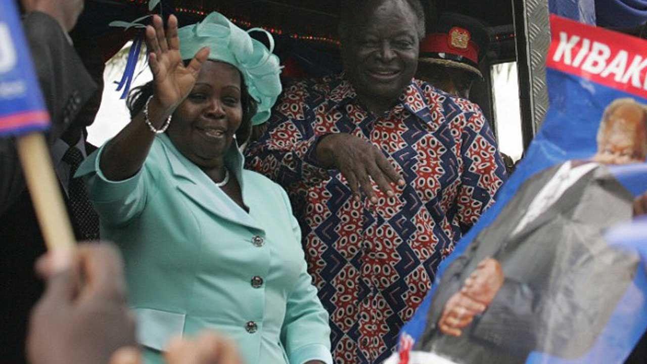 Former Kenyan first lady Lucy Kibaki with her husband, Mwai Kibaki, in Nairobi, kenya