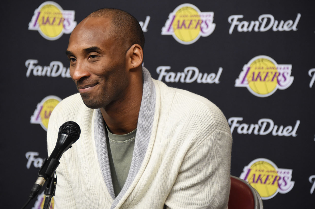 HOUSTON, TX - APRIL 10: Kobe Bryant #24 of the Los Angeles Lakers speaks at a post game press conference after the game against the Houston Rockets on April 10, 2016 at the Toyota Center in Houston, Texas. NOTE TO USER: User expressly acknowledges and agrees that, by downloading and or using this photograph, User is consenting to the terms and conditions of the Getty Images License Agreement. Mandatory Copyright Notice: Copyright 2016 NBAE   Andrew D. Bernstein/NBAE via Getty Images/AFP