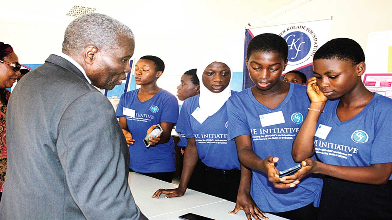 Dr. Christopher Kolade checking some projects during the SHE programme in Sagamu, Ogun State... recently