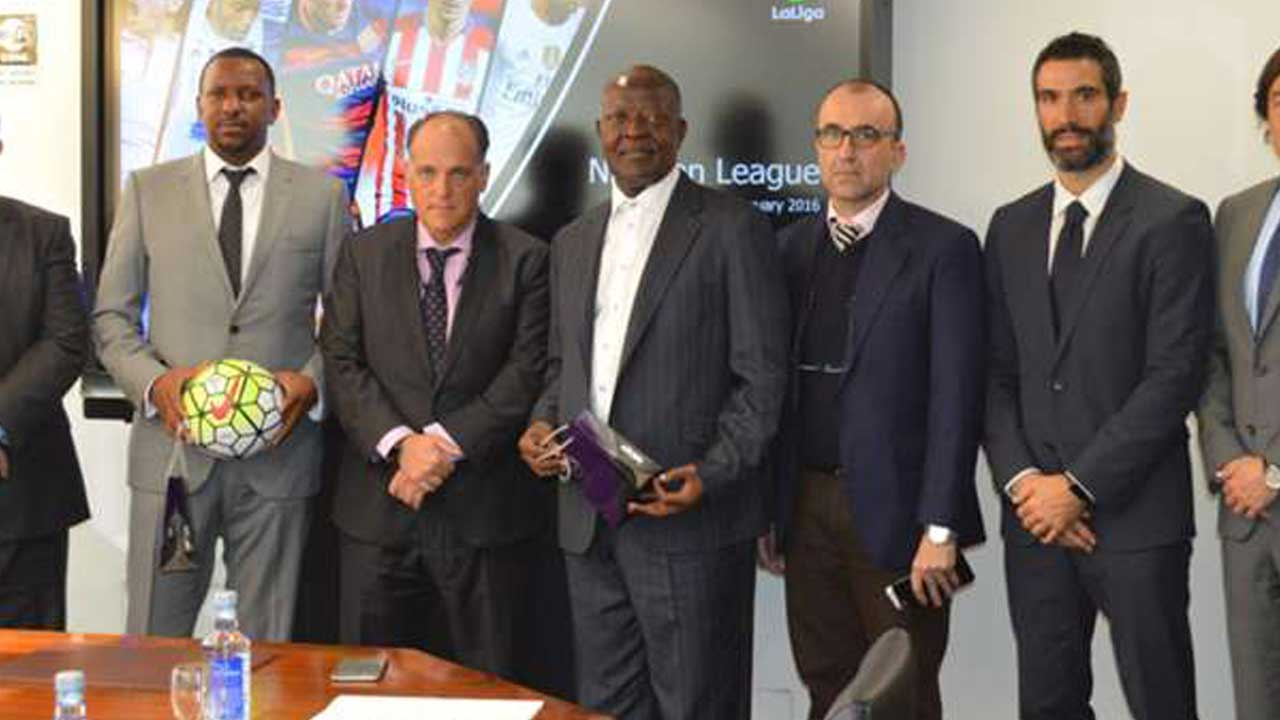 Nigeria Professional Football League and Laliga officials during the signing of MOU.