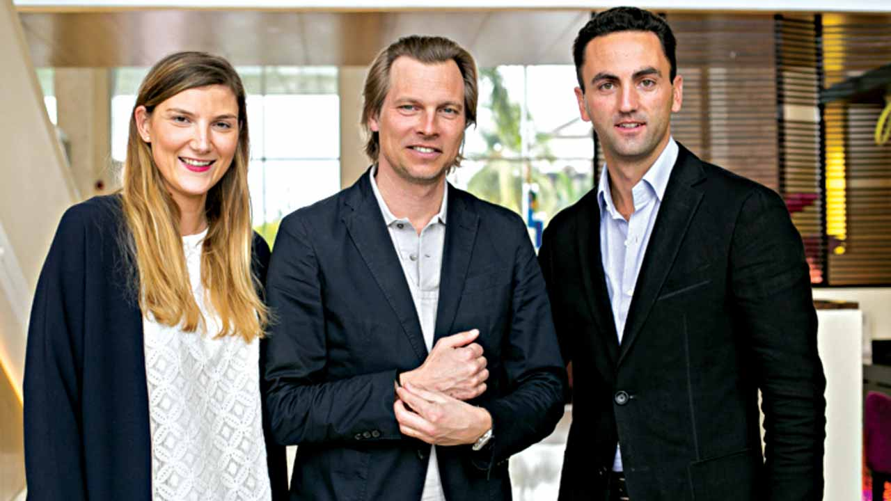 Emma Paillard, International Brand Manager Louis XIII,Ludovic du Plessis, Global Executive Director Louis XIII and Thibault Robert, Marketing Manager, EMEA at the press briefing at the Radisson Blu Anchorage Hotel, V.I.