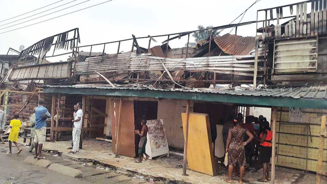 The burnt section of the market