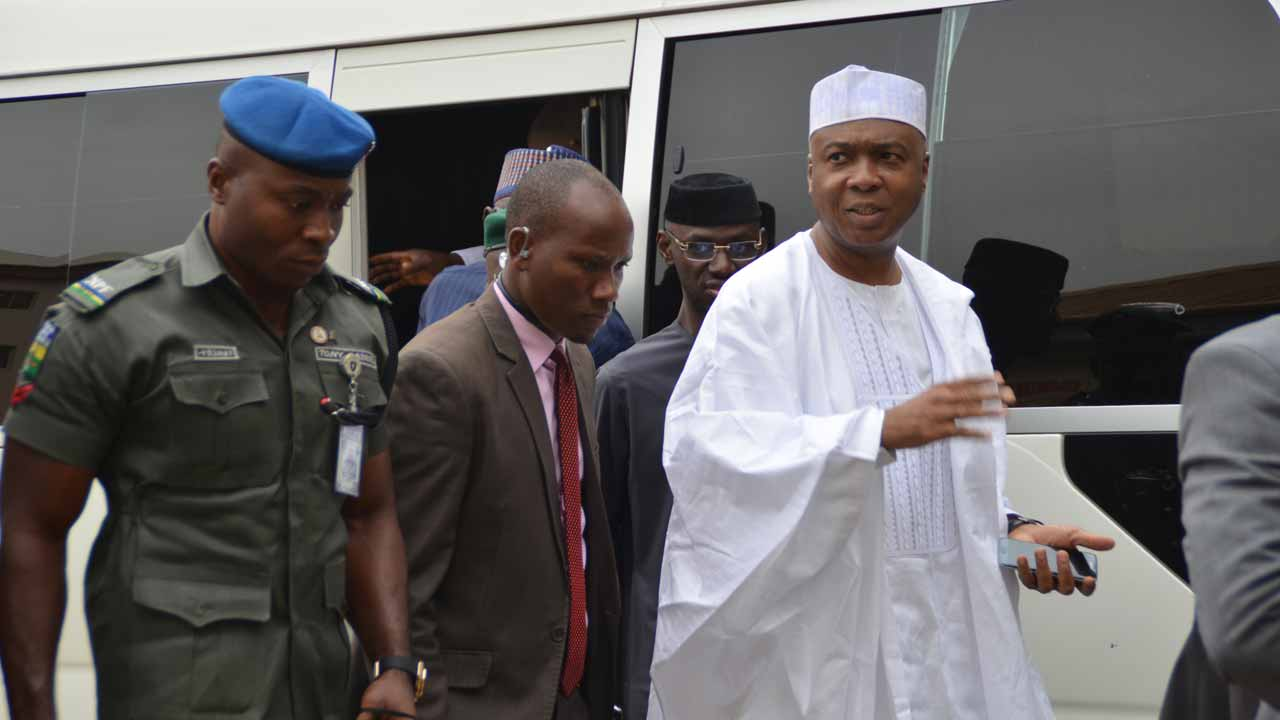 Saraki at the Code of Conduct Tribunal in Abuja… yesterday. PHOTO: LADIDI LUCY ELUKPO