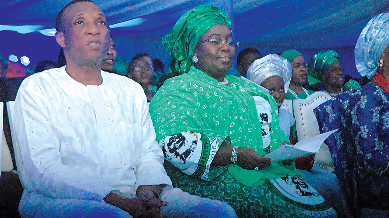 Lagos State Deputy Governor, Oluranti Idayat Adebule (second left) and  Secretary to Lagos State Government, Tunji Bello (left)  at the service of songs...on Tuesday