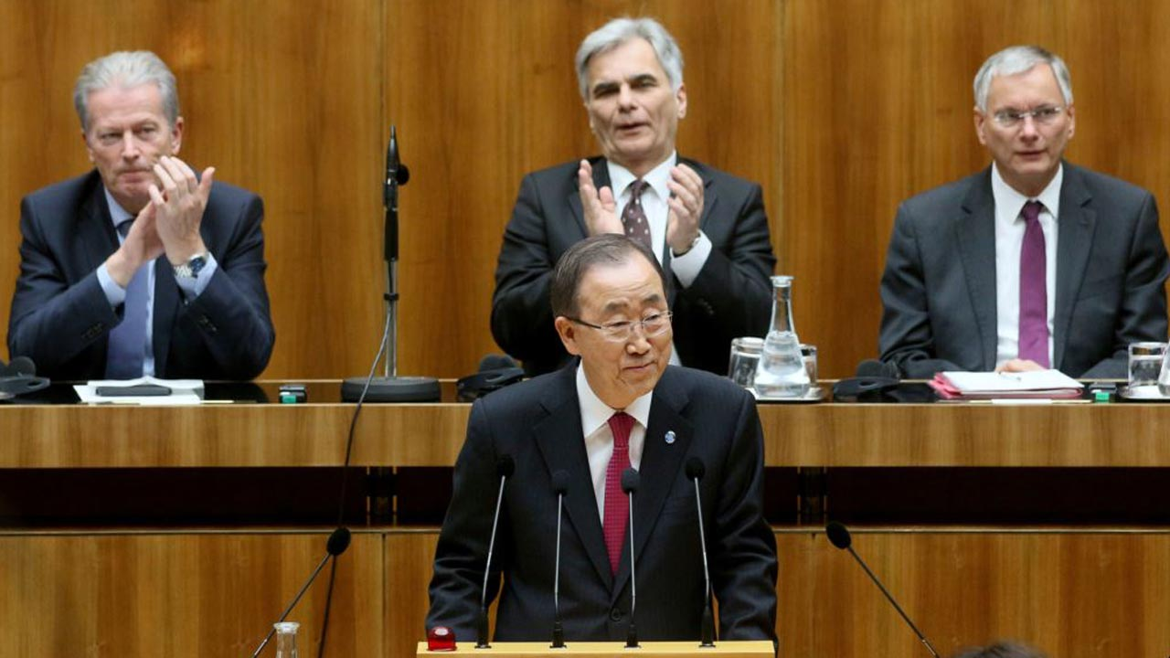 United Nations Secretary-General, Ban Ki-moon (first row, middle) and others, during a session of Austria's lower house at the parliament in Vienna…yesterday