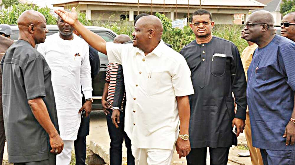 Rivers Peoples Democratic Party (PDP) Chieftain, Chief Sergeant Awuse (right); Lee Maeba; Rivers State Governor, Nyesom Wike; Rivers State PDP Chairman, Felix Obuah and others during the governor's  inspection  of  projects in Port Harcourt.