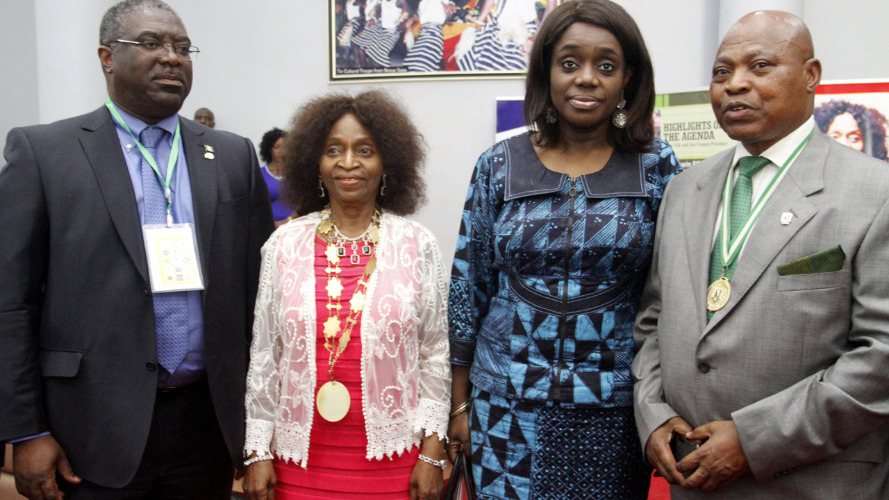 Chairman, Federal Inland Revenue Service (FIRS), William Babatunde Fowler (left); President/Chairman of Council, Chartered Institute of Taxation of Nigeria (CITN), Olateju Abiola Somorin; Minister of Finance, Kemi Adeosun and second President, CITN, James Naiyeju during the 18th annual tax conference in Abuja …yesterday. PHOTO: LADIDI LUCY ELUKPO.