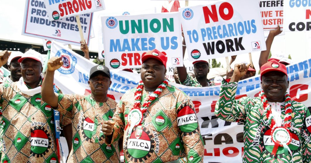 Secretary, National Union of Textile Garment/Tailoring Workers of Nigeria, Comrade Samuel Ojo, Former President of the union, Reginald Agulanna; National President of the Union, John Adaji and Chairman, Industrial Global Union, Sub-Sahara Africa, Comrade Issa Aremu during the Workers Day celebrations in Abujail on Sunday, May 1, 2016. PHOTO: Ladidi Lucy Elukpo