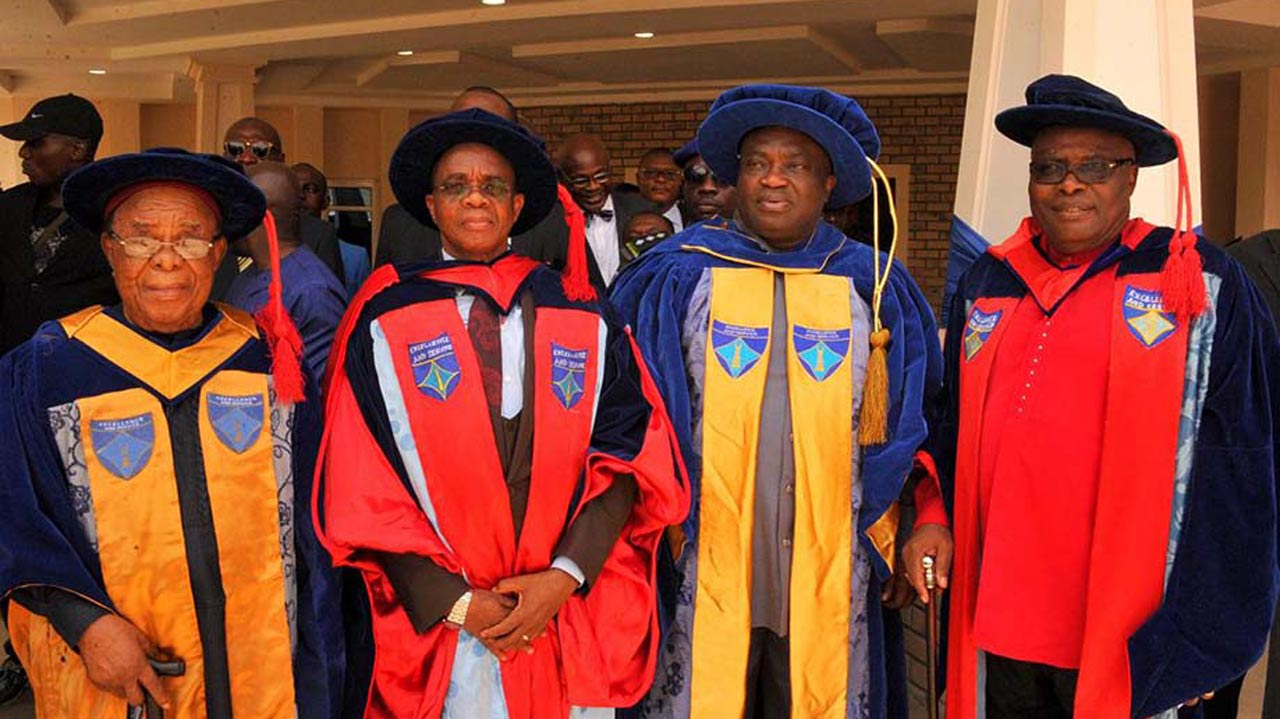 Chancellor, Sir Francis Orji (left); VC, Prof. Uche Ikonne; Abia State Governor, Dr. Okezie Ikpeazu; Pro-chancellor Adolphus Wabara, during the 24th Convocation ceremony of ABSU, Uturu.