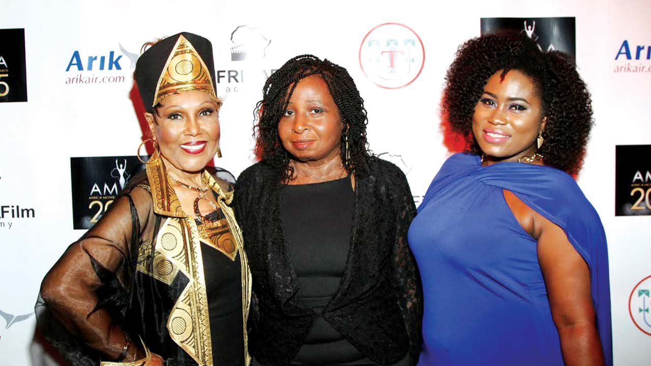 Ja'Net DuBois (left), AMAA founder Peace Anyiam-Osigwe and Ghanian actress Lydia Forson at the 2015 AMAA Nominations party in Beverly Hills, United States.