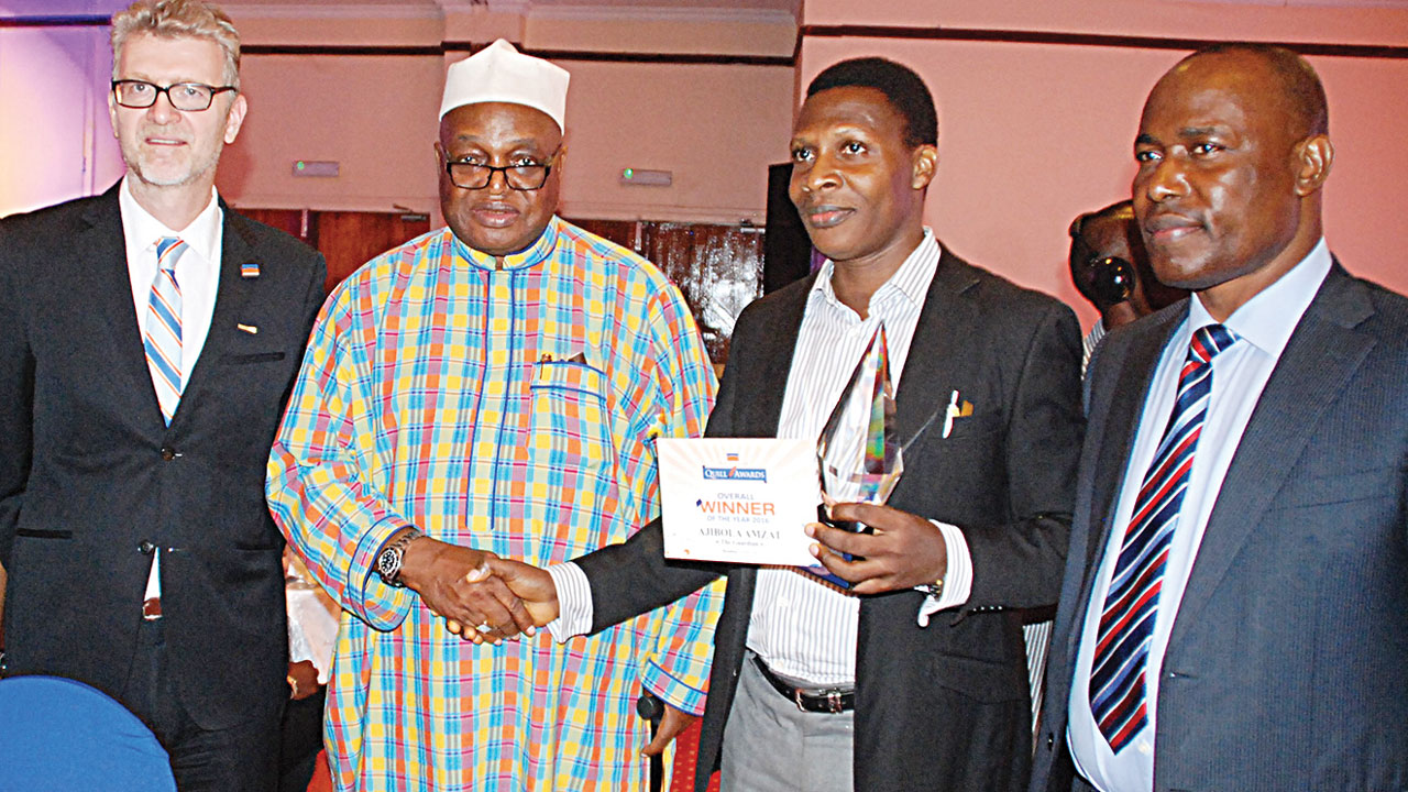 Managing Director, Promasidor Nigeria Limited, Olivier Thiry (left); Chairman, Quill Awards Panel of Judges, Ambassador Patrick Dele-Cole; Overall Winner of 2016 Promasidor Quill Award and Features Editor, Guardian, Newspaper, Ajibola Amzat and Member, Editoria Board, Guardian Nespaper, Martin Oloja at the Promasidor Quill Award in Sheraton Hotel Ikeja Lagos on Friday PHOTO: FEMI ADEBESIN-KUTI