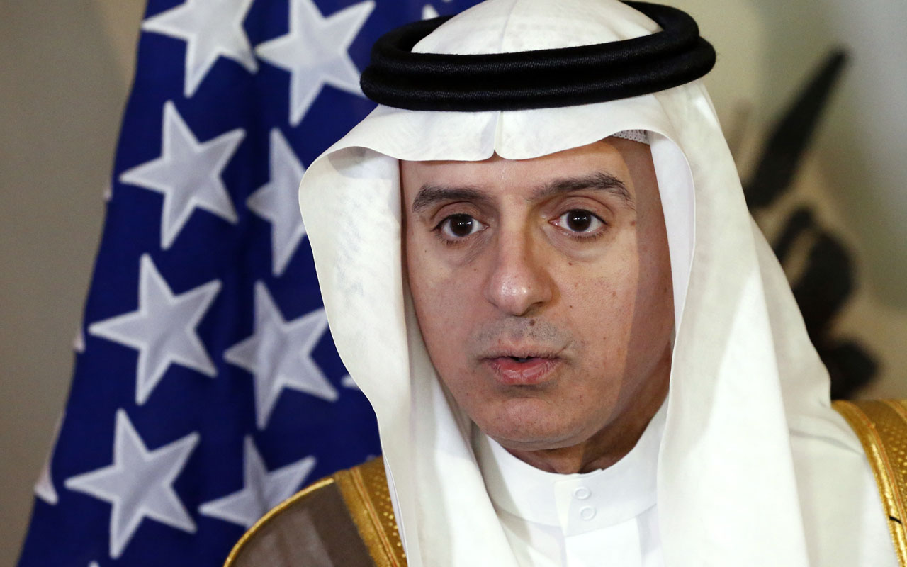 Saudi Foreign Minister Adel al-Jubeir talks to medias during a meeting on Syria with US Secretary of State, in Geneva, on May 2, 2016.  Coverage of the conflict in Syria and violence in second city Aleppo as US Secretary of State John Kerry meets his Saudi counterpart and UN envoy Staffan de Mistura in Geneva, hoping to revive the country's ceasefire. / AFP PHOTO / POOL / DENIS BALIBOUSE