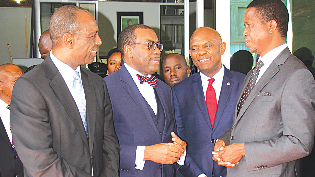 Prime Minister of Mozanbique, Carlos Agostinho do Rosário (left); President of African Development Bank(AfDB), Dr. Akinwumi Adesina; Chairman of UBA Plc and Founder, The Tony Elumelu Foundation, Tony Elumelu; and President of Zambia, Edgar Lungu, during the yearly meeting of AfDB held in Lusaka, Zambia.
