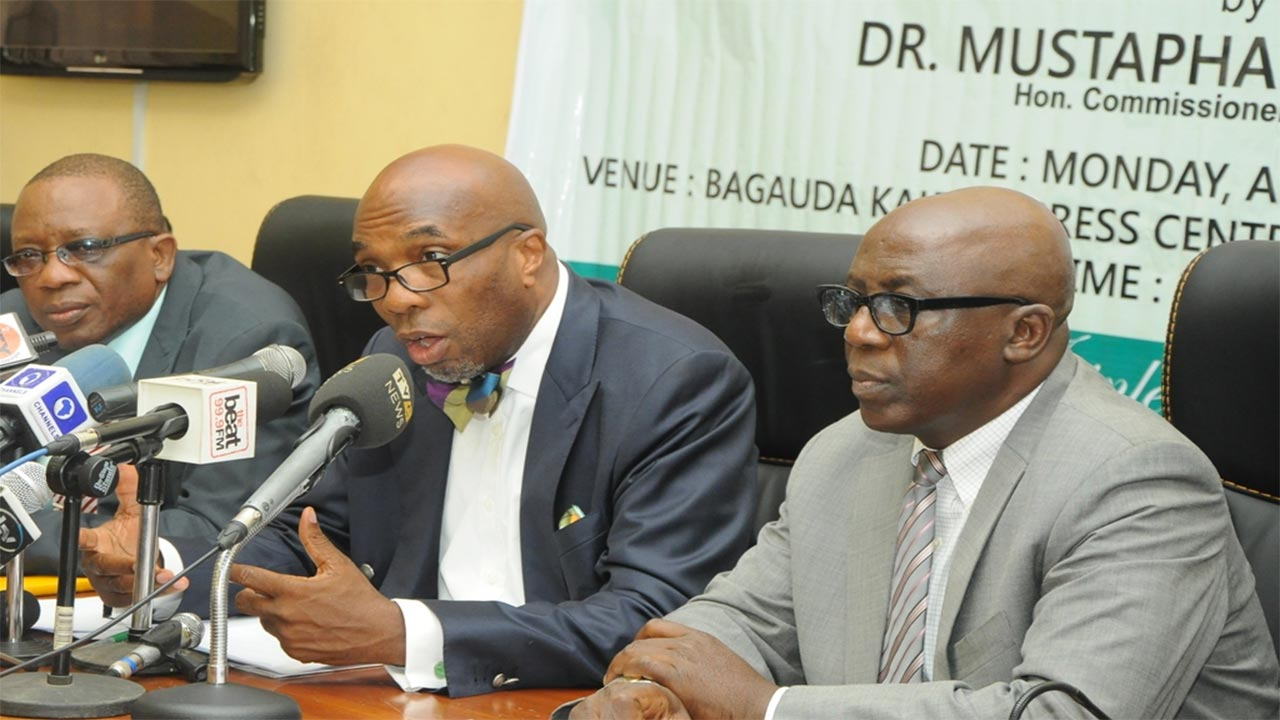 Commissioner for Finance, Dr. Mustapha Akinkunmi (middle), addressing journalists, flanked by the Permanent Secretary, Ministry of Finance. PHOTO: LASG