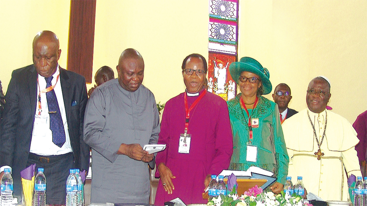 "Chancellor, Lagos Diocese, Church of Nigeria (Anglican Communion) and retired judge of the Supreme Court, Justice George Oguntade (left); Lagos State Governor, Akinwunmi Ambode; Diocesan Bishop, Most Reverend Ephraim Ademowo; his wife, Oluwafeyirantimi and Prelate, Methodist Church, Dr. Samuel Chuwuemeka Kanu Uche; during the official opening of the first session of the diocese's 33rd synod with the theme: ""The Marks of the Church"" at Our Saviour's Church, Lagos…yesterday. PHOTO: ISAAC TAIWO"