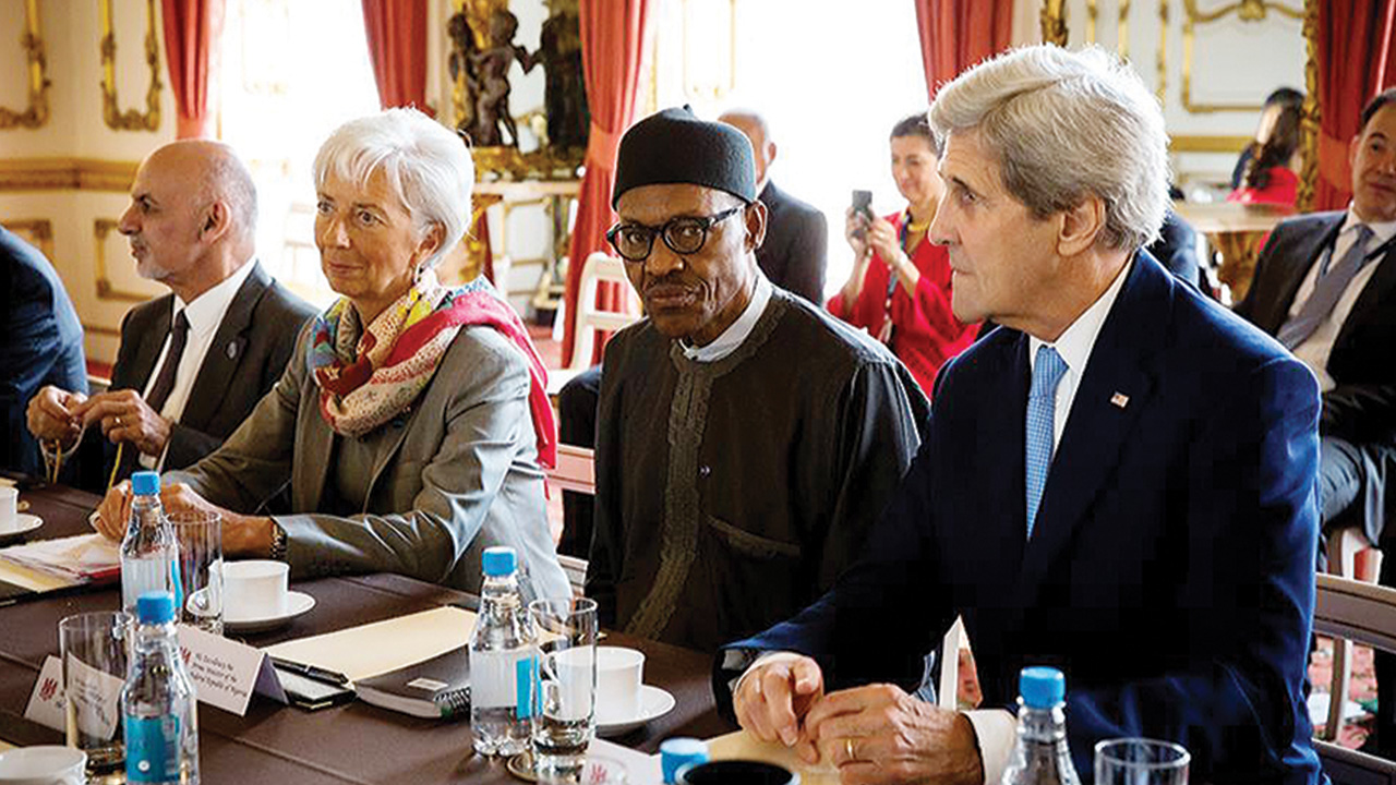 From right, America's secretary of stat John Kerry, President Muhammadu Buhari, International Monetary Fund (IMF) managing director, Ms. Christine Lagarde, and Afghanistan's President Ashraf Ghani during the London anti-corruption summit on Thursday