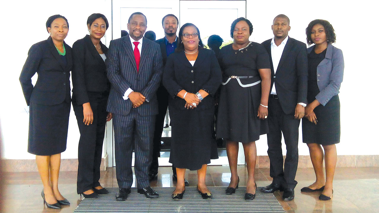 Chief Judge of Lagos State, Justice Olufunmilayo Atilade (middle); Vice-President, Nigerian Institute of Chartered Arbitrators Prof. Fabian Ajogwu, SAN (third left) and the Institute's team, when Justice Atilade visited its secretariat.