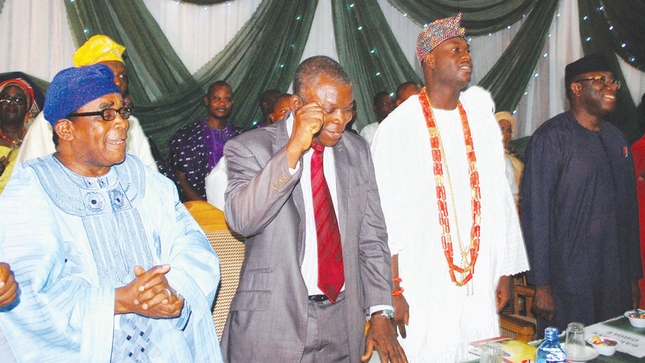 Celebrant, Chief (Dr.) John Agboola Odeyemi (left); representative of OAU VC; Prof. Omolayo Ajayi; Ooni of Ife, Oba Adeyeye Ogunwusi; and Minister of Solid Minerals; Dr. Kayode Fayemi during the 3rd Chief (DR.) John Agboola Odeyemi Annual Lecture organized by the Natural History Museum, Obafemi Awolowo University (OAU), Ile-Ife held at the Conference Centre, OAU, Ile-Ife