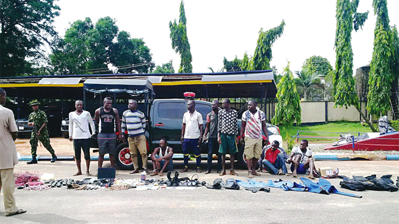 Suspected members of the Niger Delta Avengers (NDA) paraded by the 4 Brigade, Nigerian Army in Benin City, Edo State…yesterday