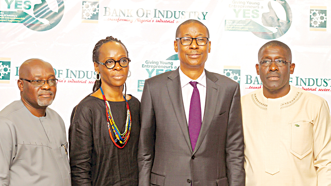 Executive Director, Corporate Services, Bank of Industry (BoI), Jonathan Tobin (left); Executive Director, Financial Inclusion, Mrs. Toyin Adeniji; Minister of Industry, Trade and Investments, Dr. Okechukwu Enelemah; and Acting Managing Director/Chief Executive Officer, BoI, Waheed Olagunju, during the inauguration of the screening committee of BoI's Youth Entrepreneurship Support (YES) Programme in Lagos.