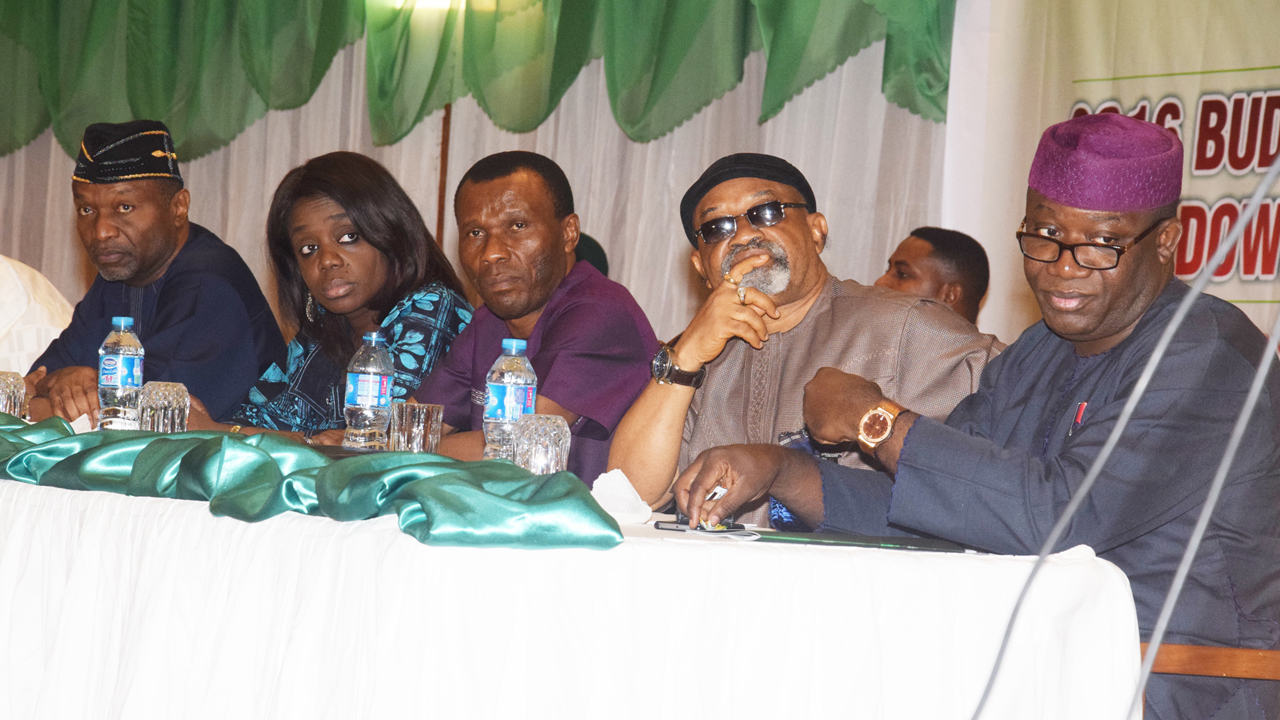 Ministers of Budget and National Planning, Udoma Udo Udoma; Finance, Kemi Adeosun; Niger Delta, Pastor Usani Usani Uguru, Labour and Employment, Chris Ngige; and Solid Minerals, Kayode Fayemi, during the 2016 budget of change breakdown presentation, held at the State House Conference Centre, Presidential Villa, Abuja… yesterday. PHOTO: STATE HOUSE